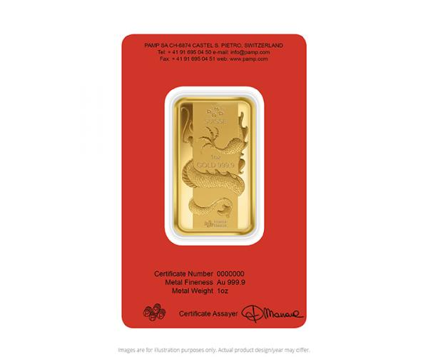 1 Ounce PAMP Year of the Dragon Gold Bar image