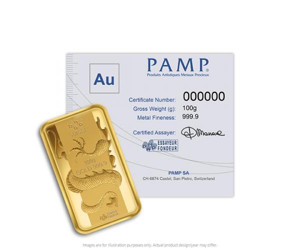 100 Gram PAMP Lunar Dragon Gold Bar image
