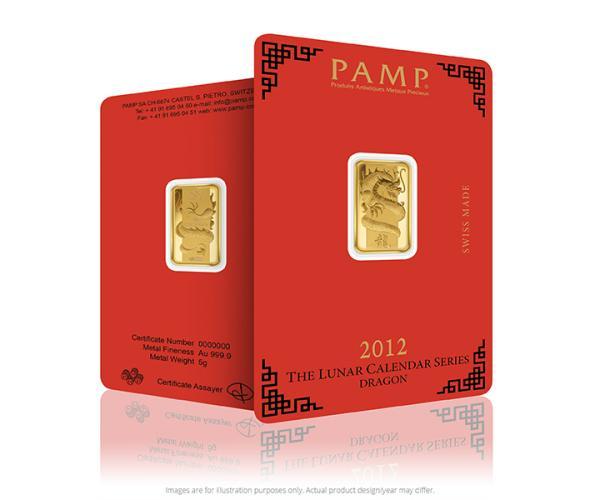 5 Gram PAMP Lunar Dragon Gold Bar image