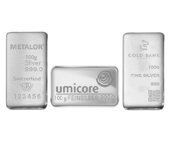 100 Gram Mixed Brands Investment Silver Bar .999 image