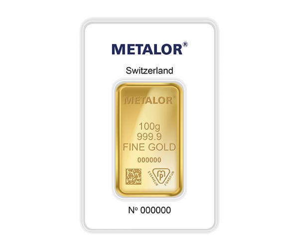 100 Gram Metalor Investment Gold Bar (999.9) image